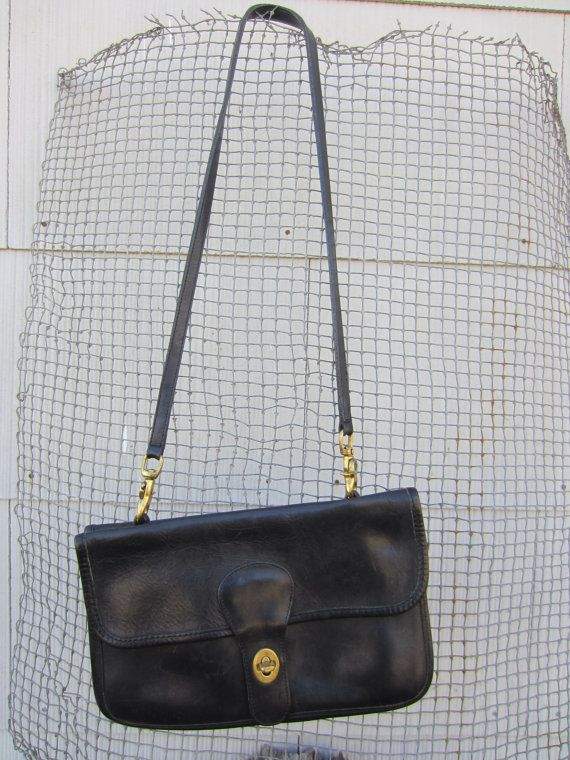 70s Coach Black Classic Heavy Leather Handbag // Coach Leatherward Made in New York City // Vintage Shoulder Purse