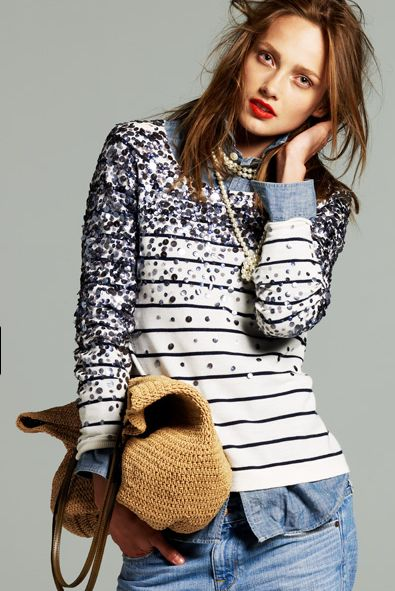 the art of layering... blinged out J Crew top, untucked chambray collared shirt, pearls, jeans & straw bag take your thru the last warm days of Summer w/brisk evenings...