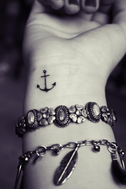 Small anchor tattoo on wrist