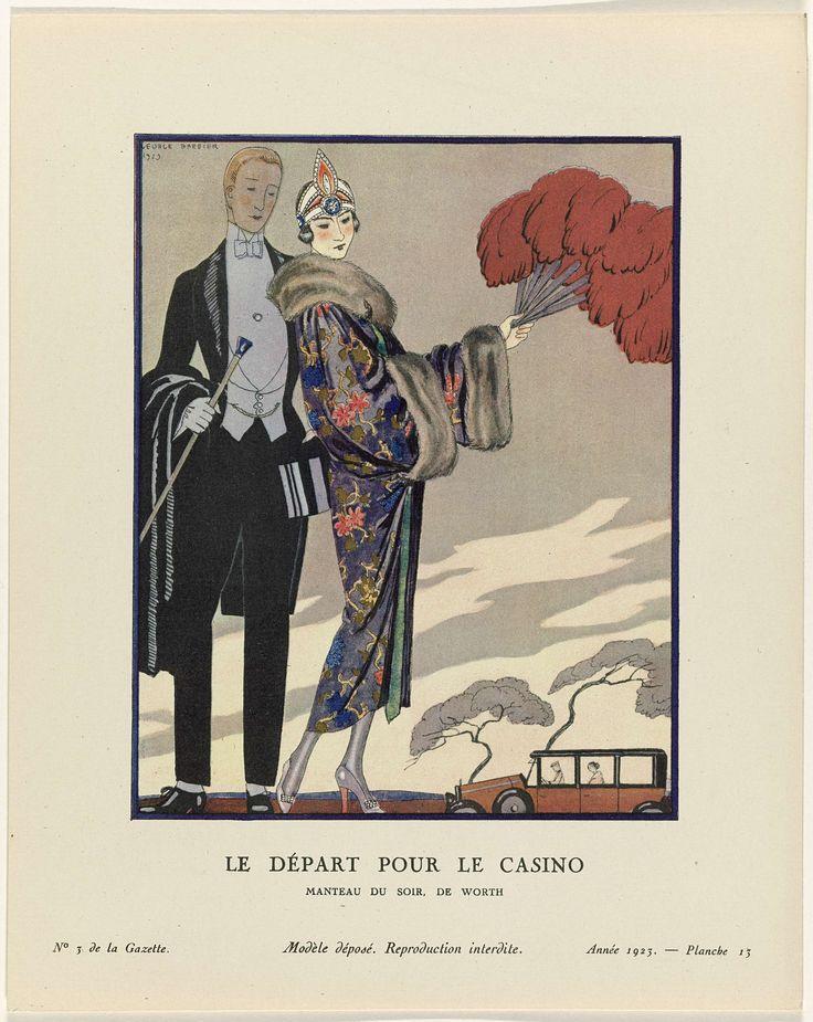 Anonymous   Gazette du Bon Ton. Art – Modes & Frivolités: Evening Attire, Anonymous, Worth, Lucien Vogel, 1923   Man en vrouw in avondkleding, voor een bezoek aan het casino. De vrouw draagt een avondmantel met bloempatroon van Worth met manchetten en een kraag van bont. In het haar een diadeem. In de rechterhand een enorme waaier van veren. De man is gekleed in een rokkostuum en heeft wandelstok en hoge hoed in de hand. Handschoenen. Op de achtergrond een auto. Planche 13 uit Gazette du Bon…