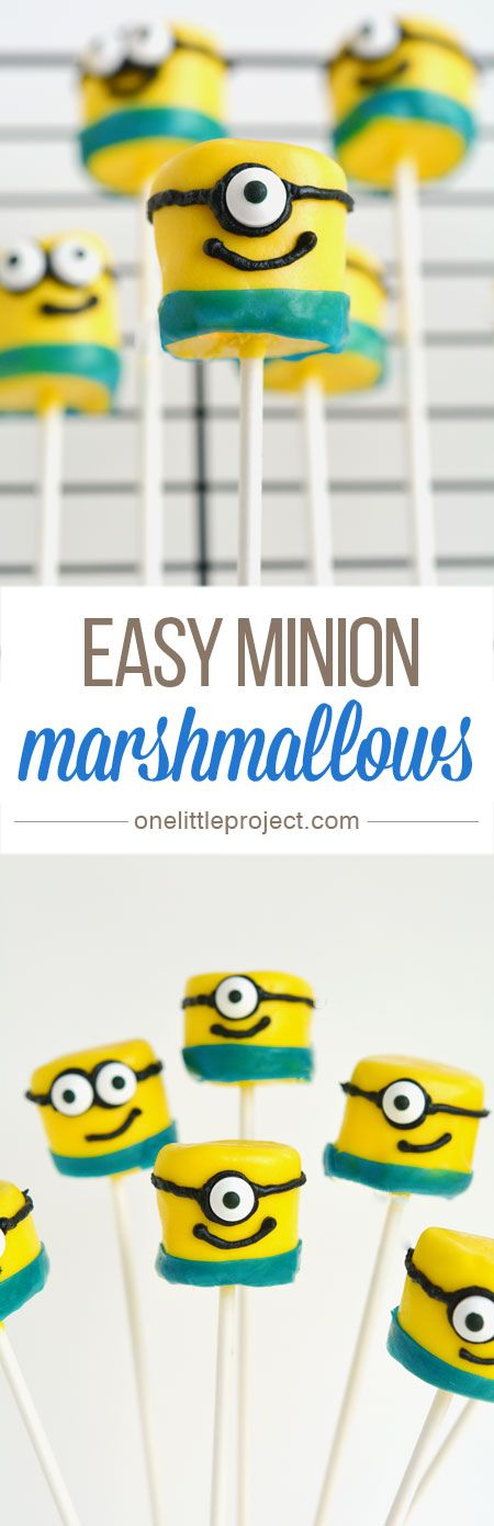 Marshmallow Minion Pops - These minion marshmallows are easy to make and they look SO CUTE!