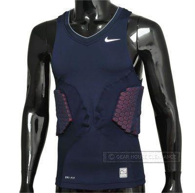 Nike Pro Combat VIS DEFLEX Foam Padded Basketball Shirt Mens Vest, Blue/Red, New