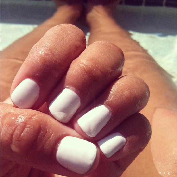 White shellac nails <3
