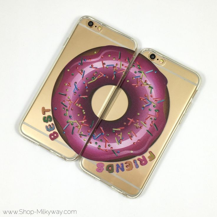 """Clear Plastic Case Cover for iPhone 6Plus (5.5"""") Best Friends Donut"""