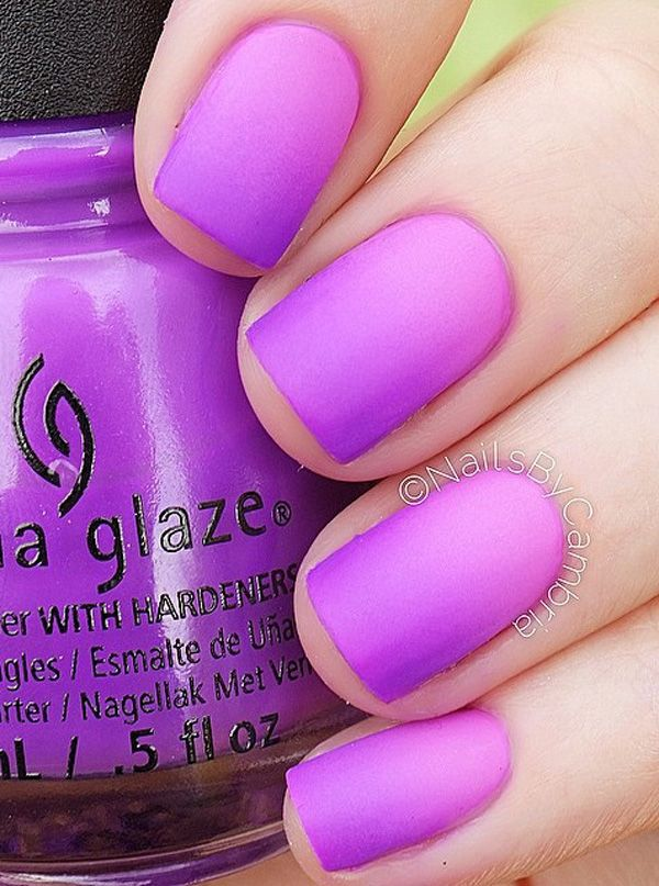 A really beautiful Purple nail art design in gradient design. The purple polish is gently combined with the thistle shade in order to create the smooth gradient effect from darker to lighter shade.