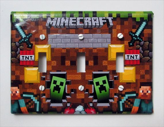Handmade Minecraft Triple Switch Plate By