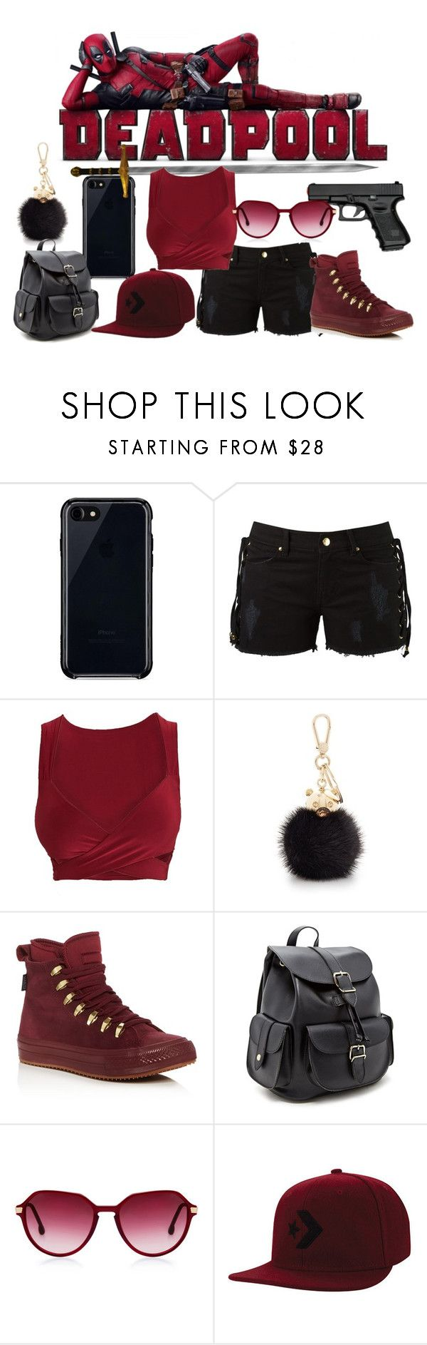 """""""Deadpool Inspired Outfit"""" by wannabefamous212 ❤ liked on Polyvore featuring Belkin, Amapô, Furla, Converse, Forever 21 and Steven Alan"""