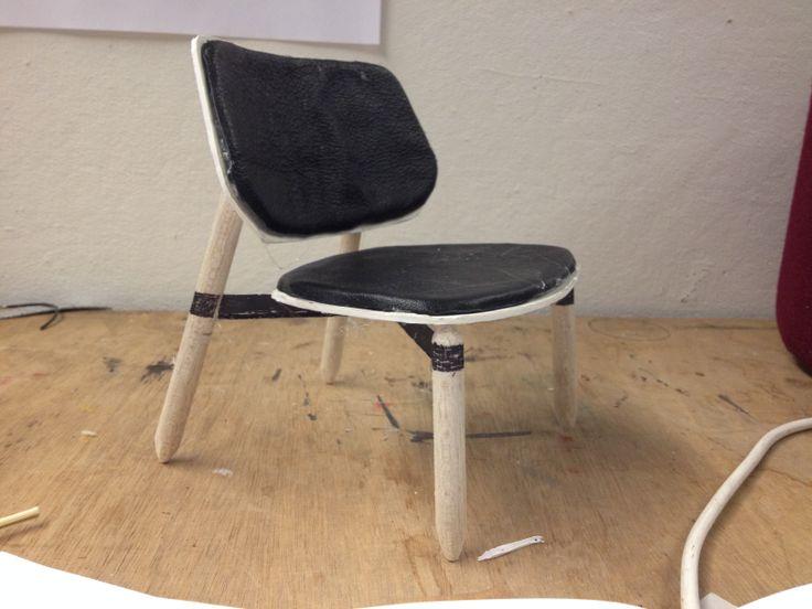 Model 1:5 sketch, model,  Lounge, furniture design, leather, metal, wood.