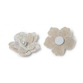 Fleurs lin dentelle adhesives x6