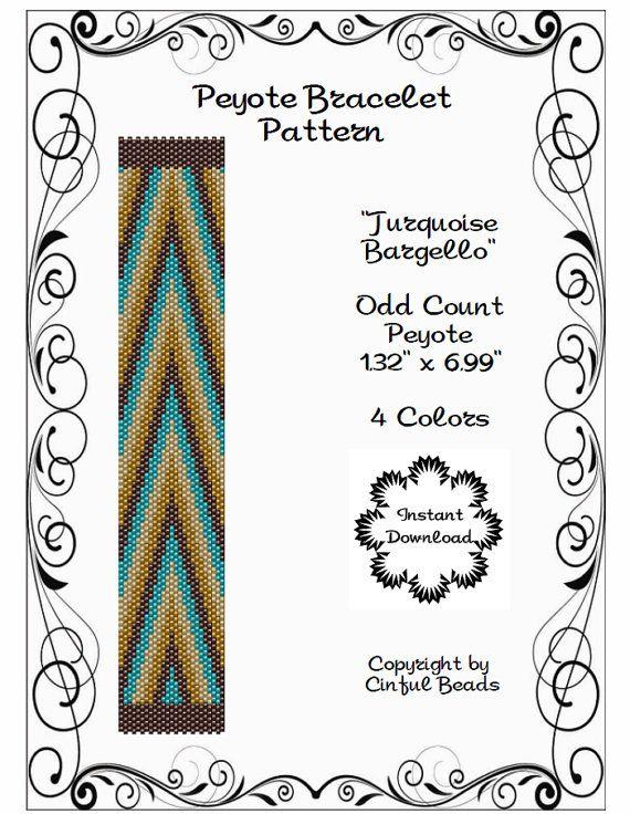 PEYOTE CUFF PATTERN - Peyote Bracelet- Off Loom - Bargello - Miyuki 11/0 Delica beads - Boho