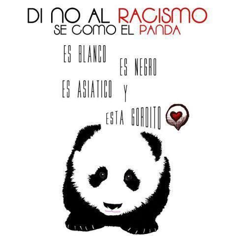 say no to racism....be like the panda. He's white. He's Black. He's Asian. He's fat. <3