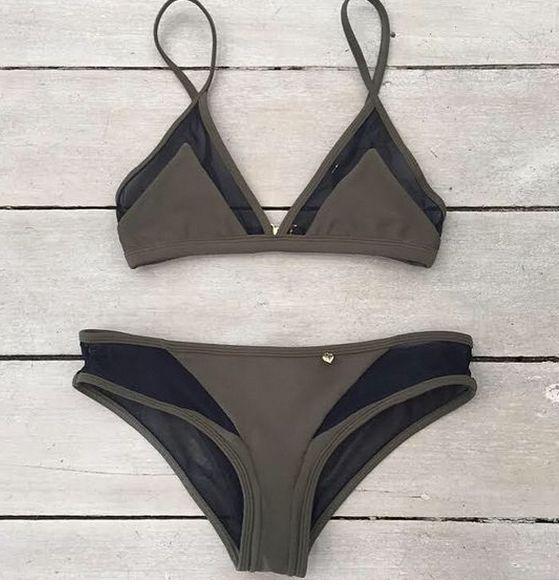 Hot pure color sexy grey net two piece swimwear bikinis