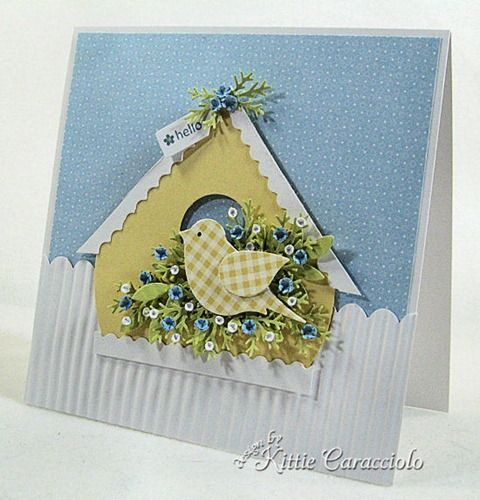 """handmade card with yellow gingham bird made with the Bird Builder Punch ... nest of punched foliage ... cute paper bird house ... sweet card ... Stampin""""Up!"""