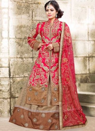Pink Beige Embroidery Work Bhagalpuri Silk Net Designer Anarkali Lehenga Suit http://www.angelnx.com/Salwar-Kameez/Anarkali-Suits