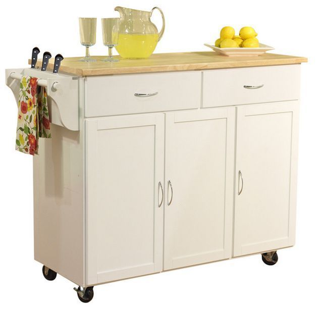 Large Rolling Kitchen Cart Island White Butcher Block Wood Cutting Board  Storage