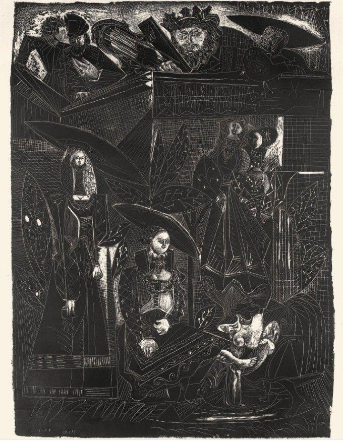 Picasso, David et Bethsabée (d'après Cranach) Paris, 9-Mai 1949 lithographie édition 50, 65,3 x 48,1 cm. MOMA