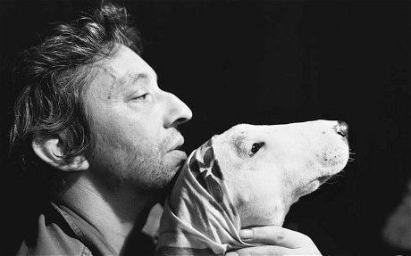Gainsbourg with the bull terrier Nana, 1977 ('Serge felt their profiles perfectly complemented each other'). Photo: Andrew Birkin.