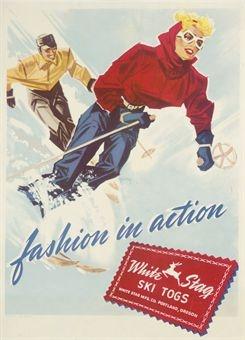 vintage ski poster.   WHITE STAG SKI TOGS, FASHION IN ACTION