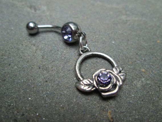 lavander swavorski flower  belly button ring by sindys on Etsy