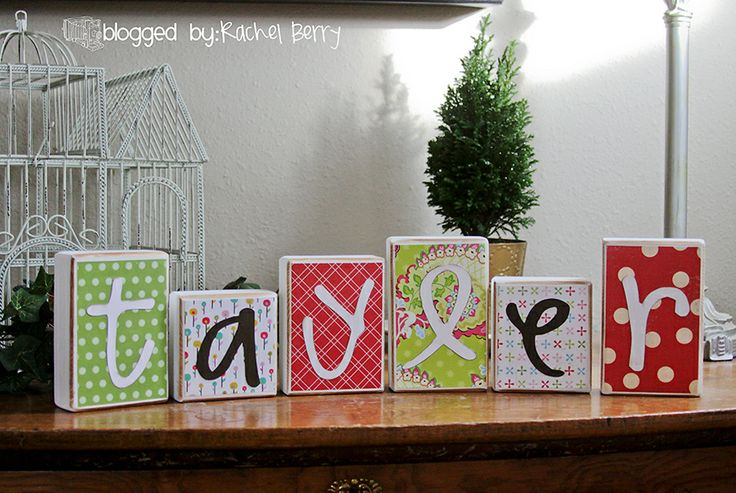 DIY  decorated wooden letter blocks.  A cute gift for a child's room.