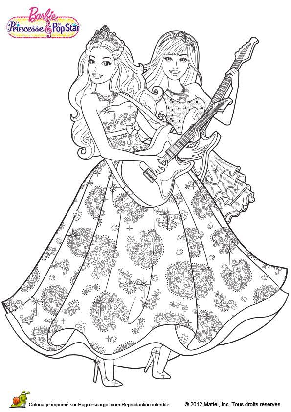 coloriage du dessin de barbie et son amie en train de chanter en jouant la