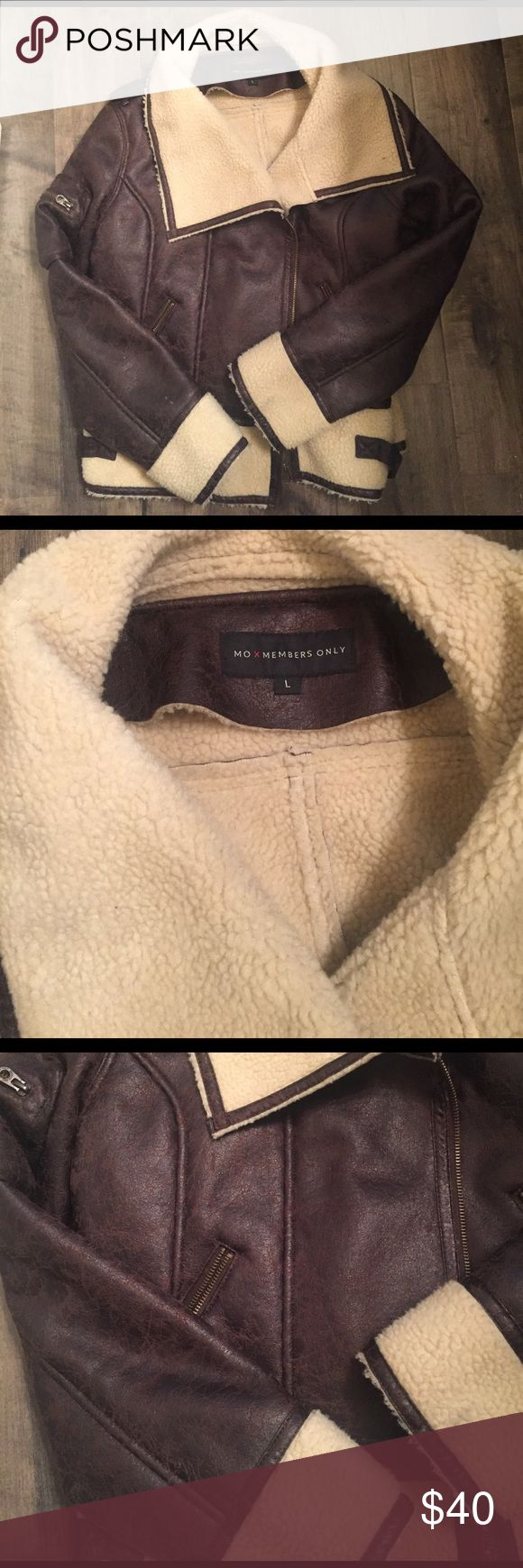 Members Only Brown Bomber Jacket Never worn, bomber style jacket, large but fits more like medium, zip up, fleece lined Members Only Jackets & Coats Utility Jackets