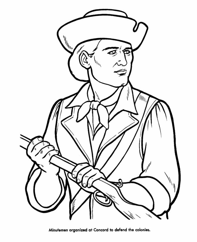 Revoltionary War Minutemen Coloring Page