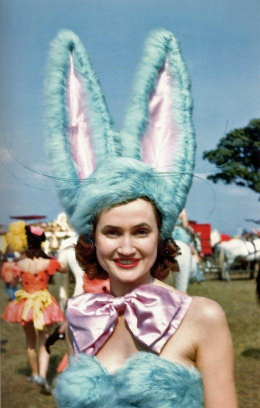 Easter Bunny, 1950s. Goddamn, I want that costume! Beautiful colour photograph from the late 40s early 50s.