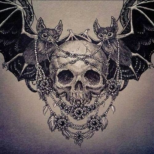 Skull with Bat Wings Necklaces and Gems Sketch Tattoo Idea