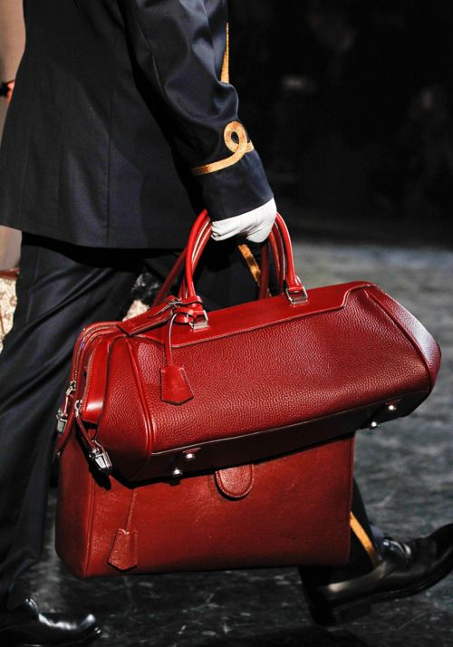 Louis Vuitton Fall 2012 large and small red structured leather handbags