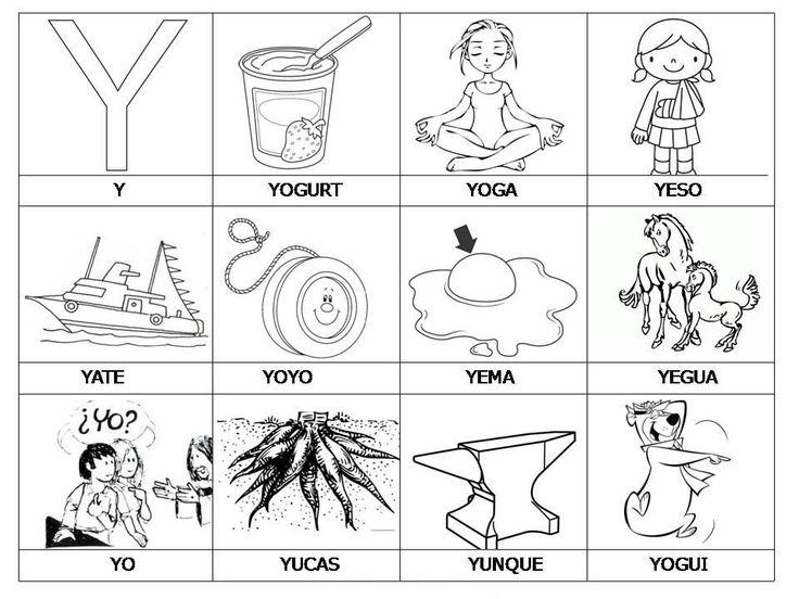 Laminas Con Dibujos Para Aprender Palabras Y Colorear Con Letra Y ...