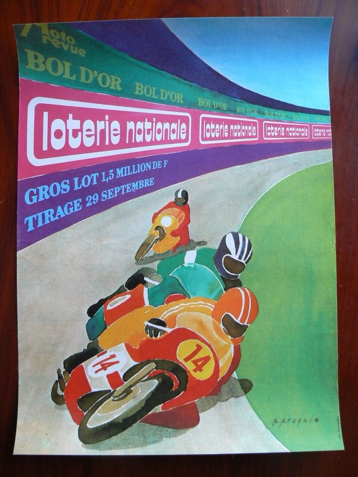 Ancienne Affiche Loterie Nationale Bol d'Or Praquin Moto Revue in Collections, Calendriers, tickets, affiches, Affiches pub: anciennes | eBay