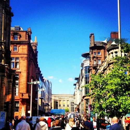 Buchanan Street in Glasgow, Scotland.