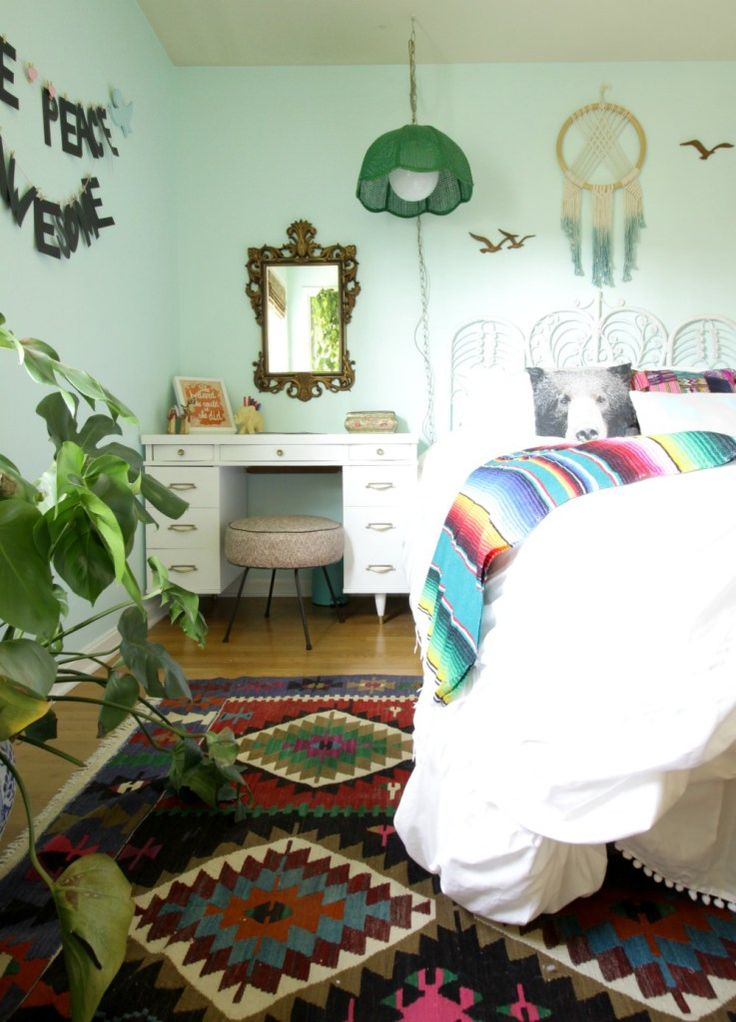 Midcentury Desk- Eclectic bohemian Girls bedoom in aqua with bright colors and vintage touches