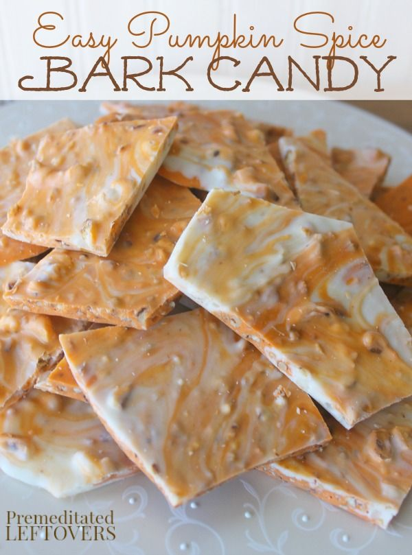 Pumpkin Spice Bark Candy Recipe - This quick and easy pumpkin spice bark only takes 4 ingredients and can be made in 15 minutes! Perfect for fall parties.