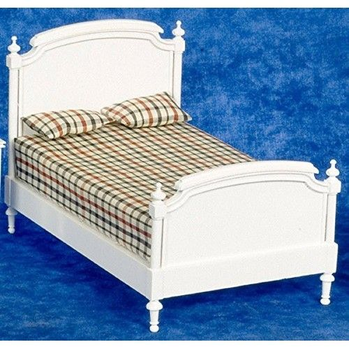 New Dolls House Miniature Bedroom Furniture Shabby Chic White Wooden Double Bed