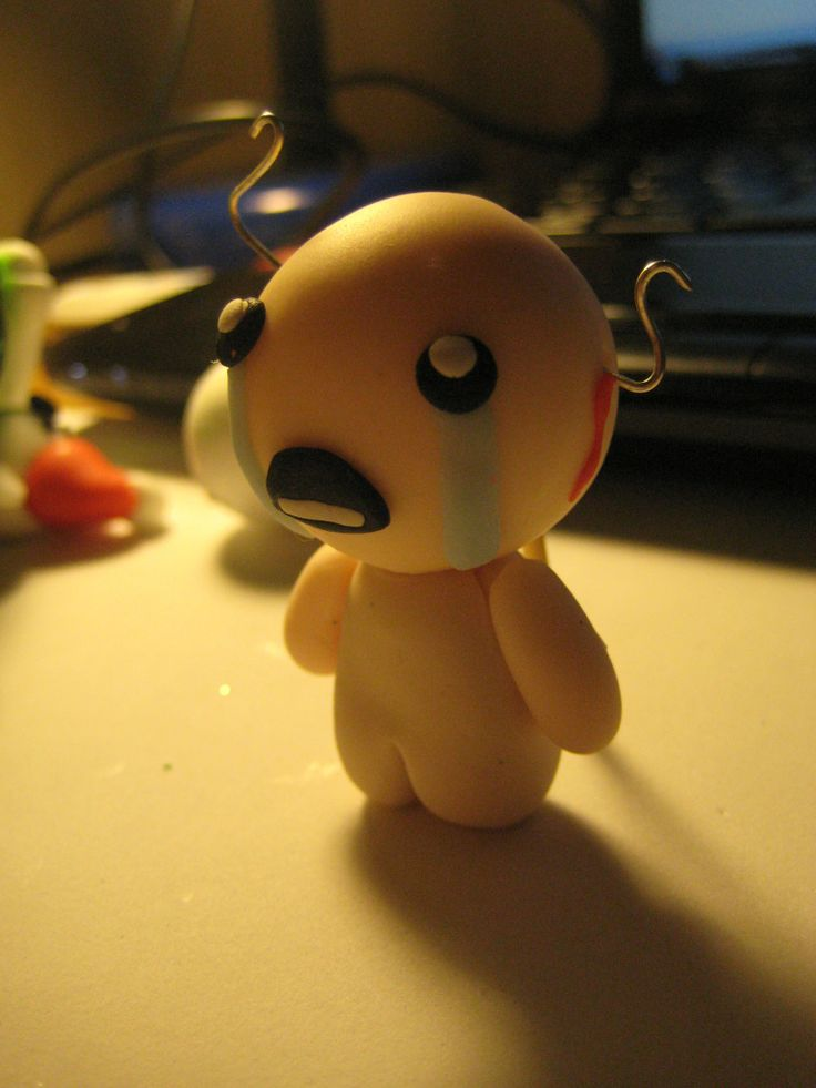 """This is a polymer clay Isaac from """"The Binding of Isaac"""" one of the coolest video games ever, if you don't know it, check it out on Steam. Of course it is handmade :) #polymerclay #handmade #geek"""