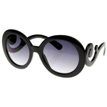 Designer Inspired Butterfly Frame Baroque Oversized Round Black Women Sunglasses Kiis. $12.99