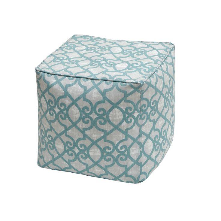 Madison Park Crystal Aqua Printed Fretwork 3M Scotchgard Indoor-Outdoor Pouf (18x18x18-Aqua), Blue, Size Specialty (Polyester)
