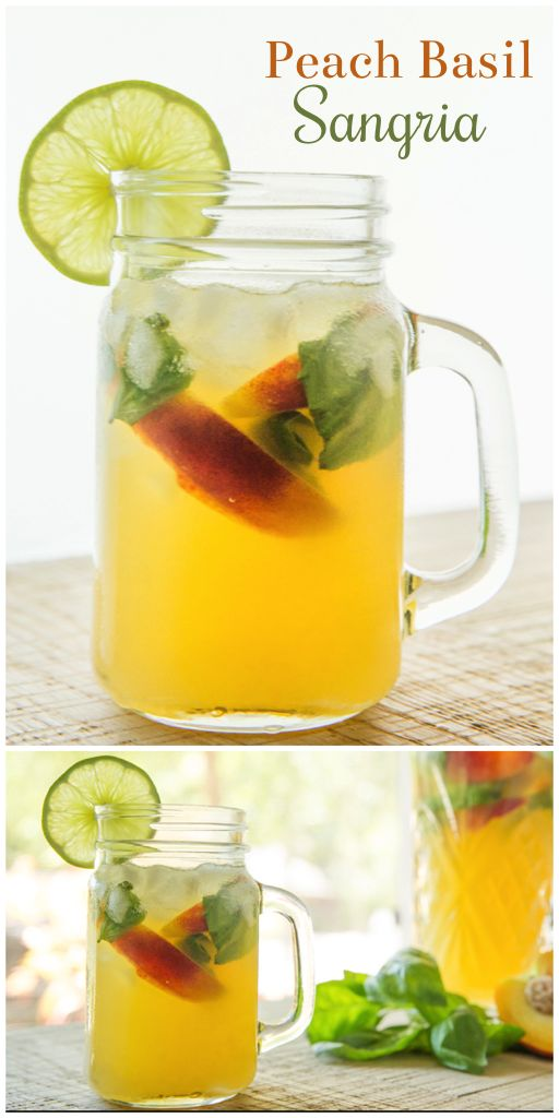 Sparkling Peach Basil Sangria, perfect cocktail for summertime sipping ...