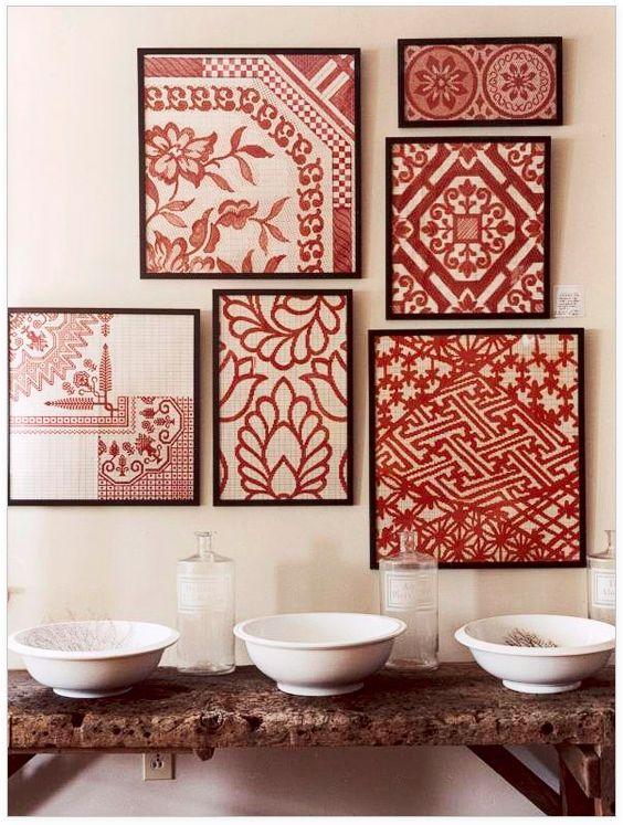 Frame those embroider hand towels in your craft room??
