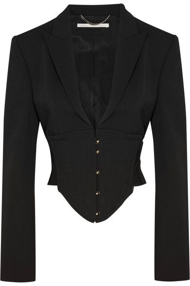 Stella McCartney - Cropped Cutout Wool Jacket - Black - IT38
