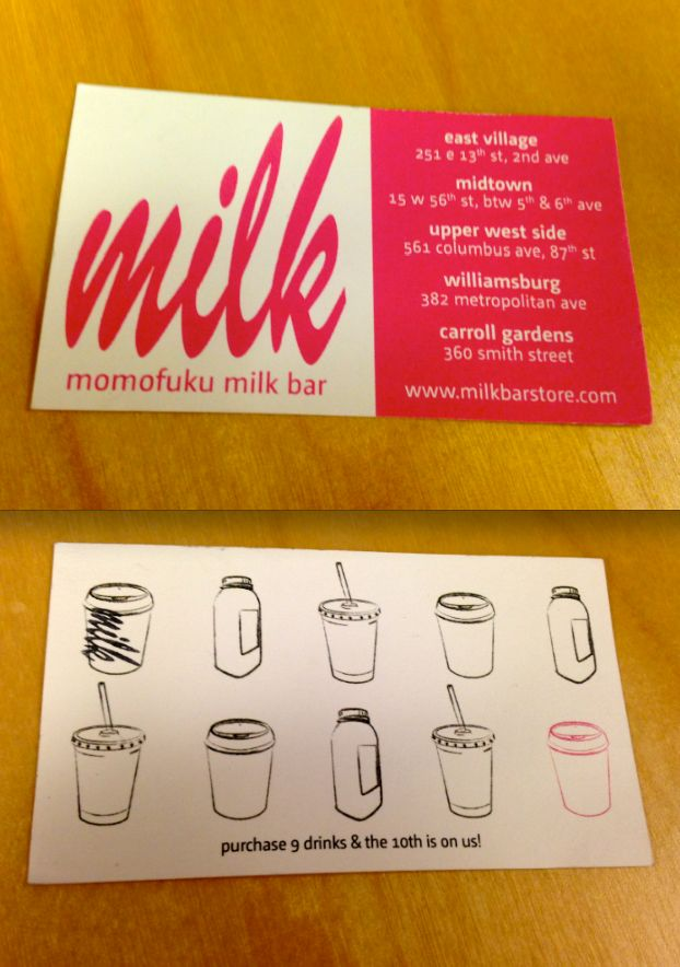 Momofuku Milk Bar loyalty cards. Put the logo on the coffee cup, really nice idea (HH)