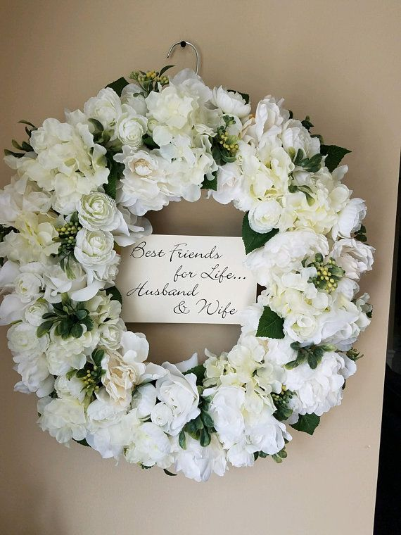 Off White Wreath Wedding Wreath Summer Wreath Front Door Wreath Church Door Wreath Best Friends For Life Husband And Wife With Images Wedding Wreaths White Wreath Wedding White Wreath