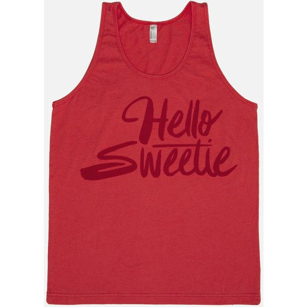 Hello, Sweetie Doctor Who Unisex Tank Top ❤ liked on Polyvore featuring tops, red tank, america tank top, red checkered shirt, americana tank top and red shirt