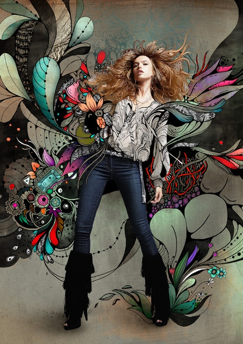Photo with illustrated background surrounding the model. Flower petals and jewels in various colors that look like wings coming out of the girl's shirt.