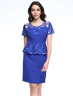 Bayanlar Çalışma / Büyük Beden Sofistike Elbise Nakışlı,Kısa Kollu Yuvarlak Yaka Diz üstü Mavi / Kırmızı / Gri / Sarı Polyester Yaz