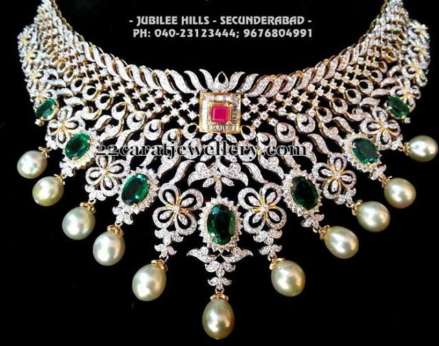 Jewellery Designs: Grand Diamond Choker by Srimahalaxmi Jewels