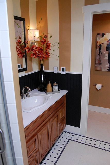 Marquis Cinnamon Bathroom Vanity With Black Bead Board And Custom Paint  Job. This Is From