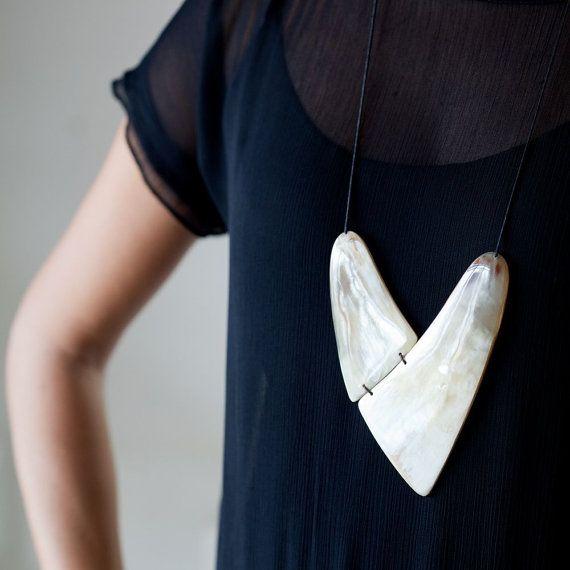 Christmas Sale Heart Necklace Large Pendant Necklace by abramey, $110.00